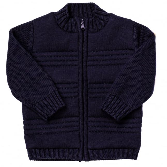 Baby Navy Zip Knitted Cardigan