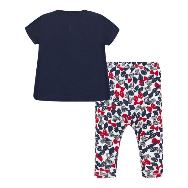 Infant Navy Teddy Flowers T Shirt & Leggings Set