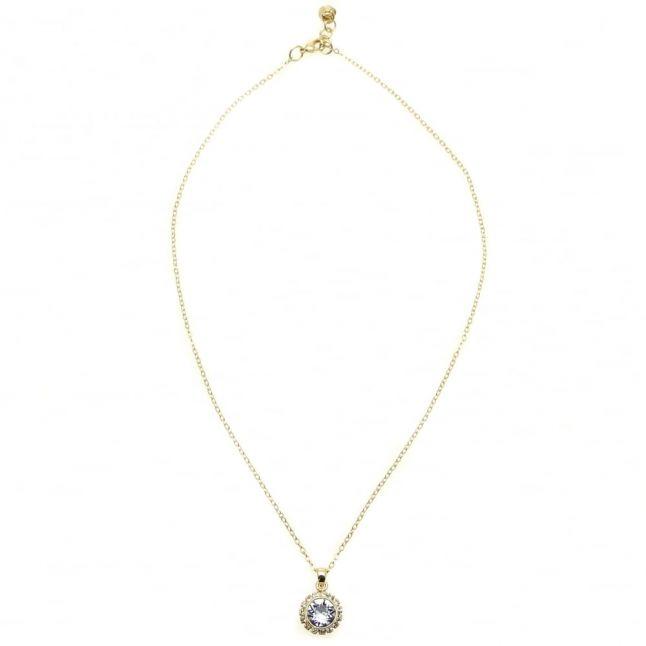 Womens Gold & Light Sapphire Sela Crystal Pendant Necklace