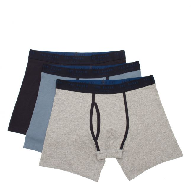 Mens Navy/Grey/Blue 3 Pack Cotton Boxers