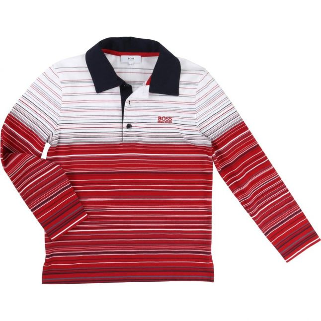Boys Red Striped L/s Polo Shirt