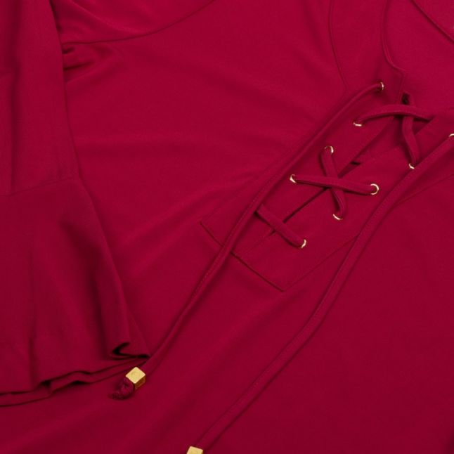 Womens Maroon Lace Up Flared Top