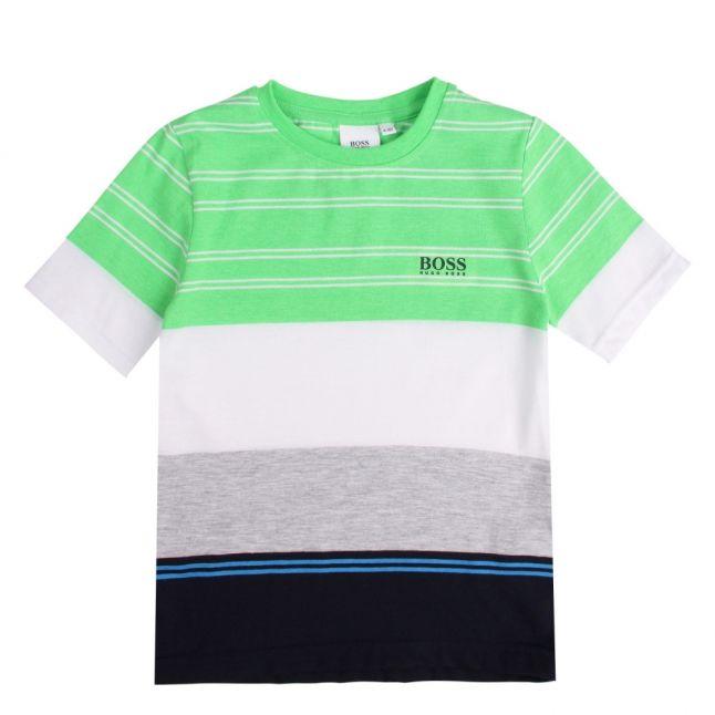 Boys Green Multi Stripe Block S/s T Shirt