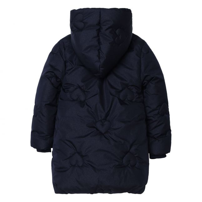 Girls Navy Heart Quilted Hooded Coat
