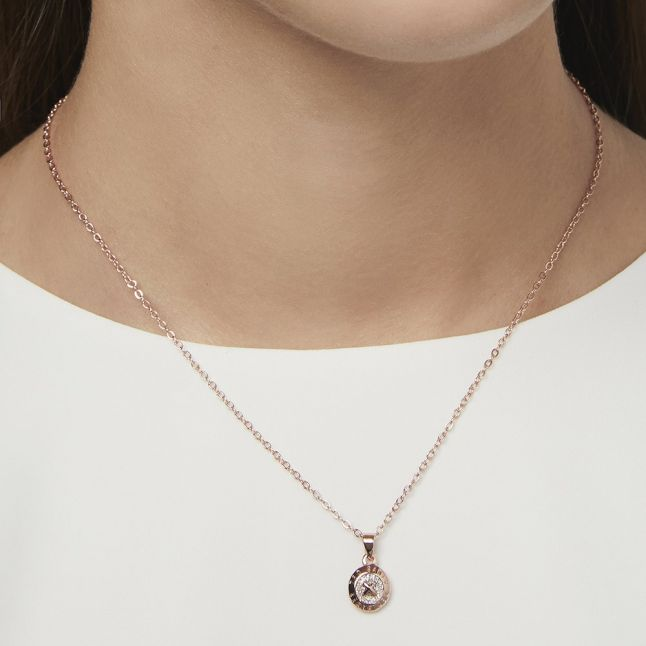 Womens Rose Gold/Silver Elvina Enamel Mini Button Pendant Necklace