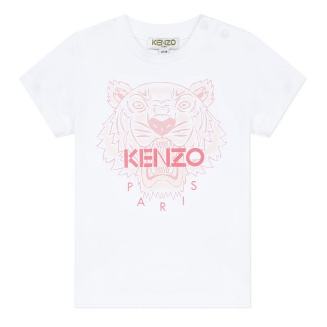 Girls White/Pink Neon Iconic Tiger S/s T Shirt
