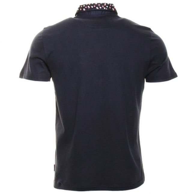 Mens Navy Sydnar Floral Collar S/s Polo Shirt