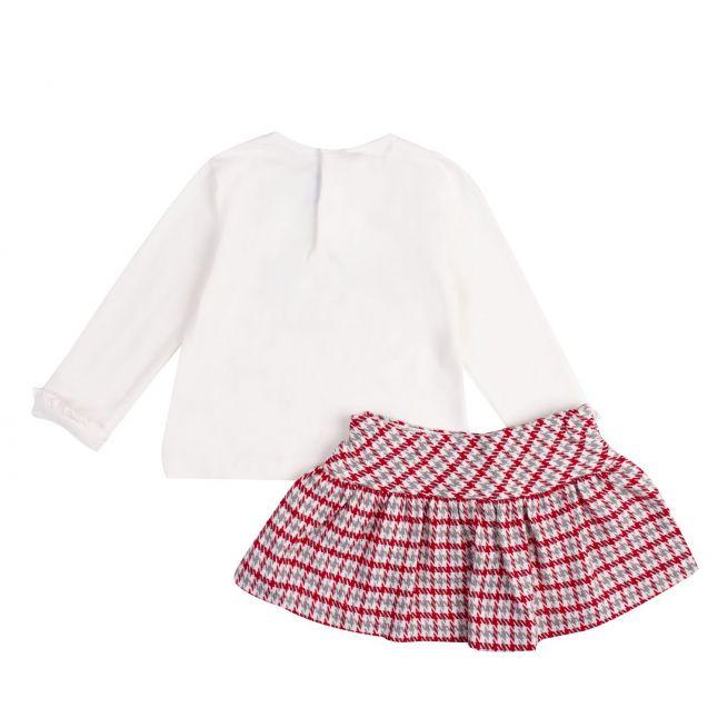Infant Cream/Red Dancers Top & Check Skirt Set
