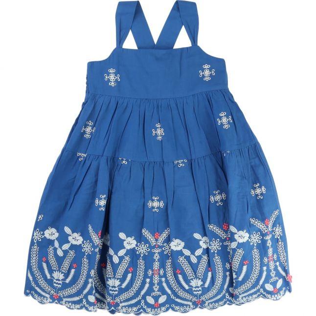 Girls Blue Mosaic Embroidered Dress