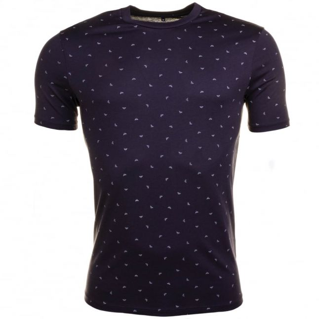 Mens Blue Micro Eagle Logo S/s Tee Shirt