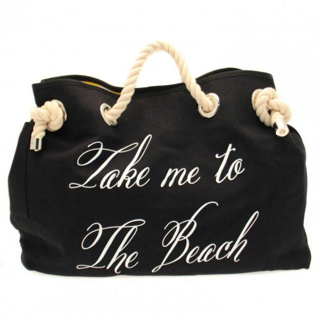 Womens Black & Yellow Stripe Take Me To The Beach Bag
