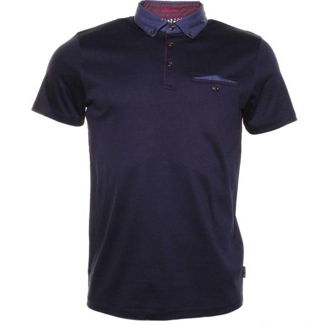 Mens Navy Gobak Geometric Collar S/s Polo Shirt