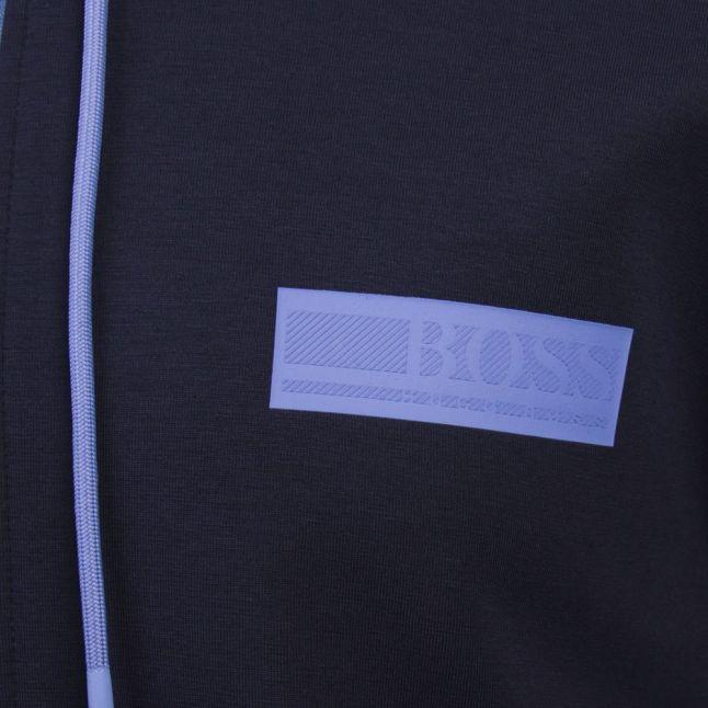 Athleisure Mens Navy Saggy Batch Hooded Zip Through Sweat Top