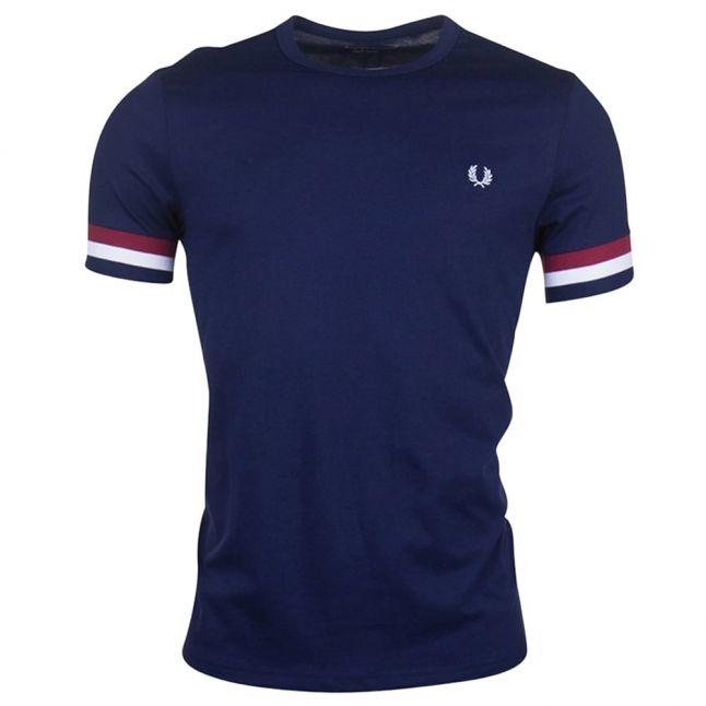 Mens Carbon Blue Striped Cuff S/s Tee Shirt