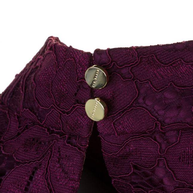 Womens Oxblood Latoya High Neck Lace Dress
