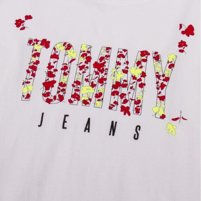 Womens Classic White Floral Logo S/s T Shirt