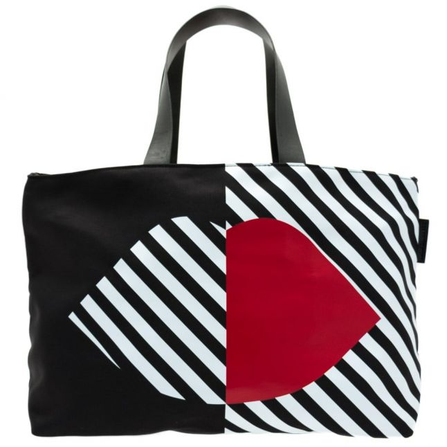 Womens Black Larysa 50:50 Lips Nylon Tote Bag