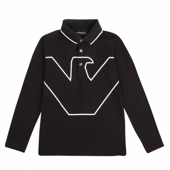 Boys Black Tipped Large Eagle L/s Polo Shirt