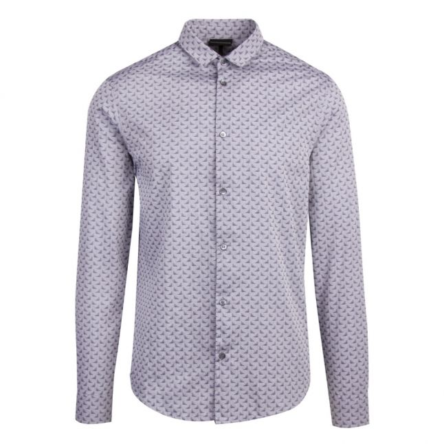 Mens Blue Eagle Print L/s Shirt