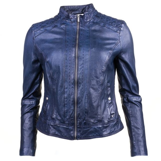 Womens Dark Blue Janabelle1 Leather Jacket