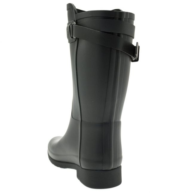 Womens Black Original Refined Back Strap Short Wellington Boots