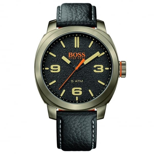Mens Black Dial Cape Town Leather Strap Watch