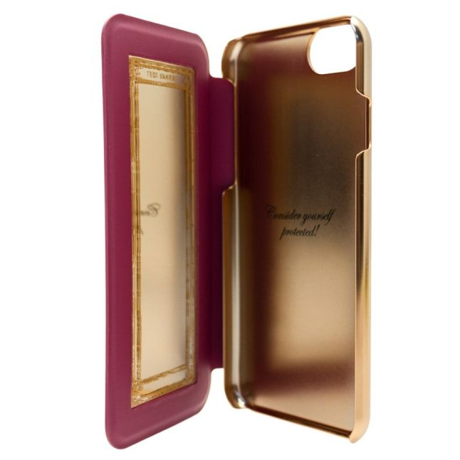 Womens Dusky Pink Mertual Cotton Dog iPhone 6/6S/7 Mirror Flip Case
