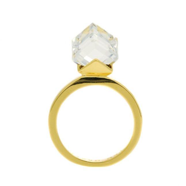 Womens Crystal Sugar Cube Ring