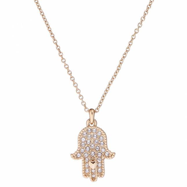 Womens Pale Gold/Crystal Hensa Hidden Heart Hand Pendant Necklace