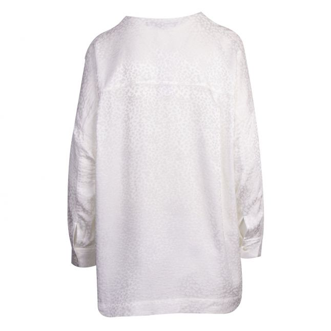 Womens Winter White Chofa Drape V Neck Blouse