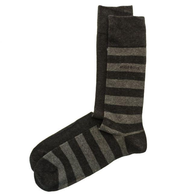 Mens Charcoal Two Pack Block Stripe Socks (5-11)