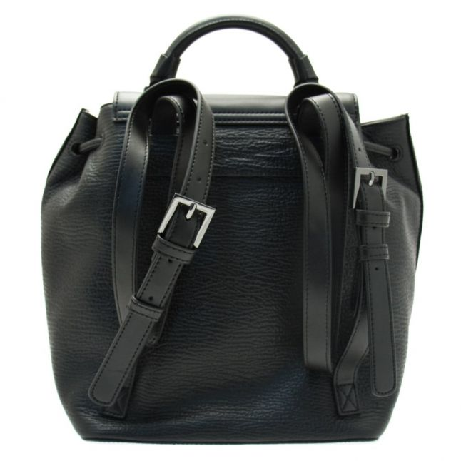 Womens Black Malin Luggage Lock Leather Backpack