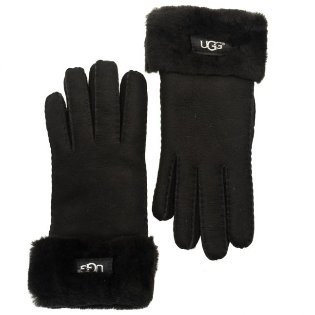 Womens Black Classic Turn Cuff Gloves