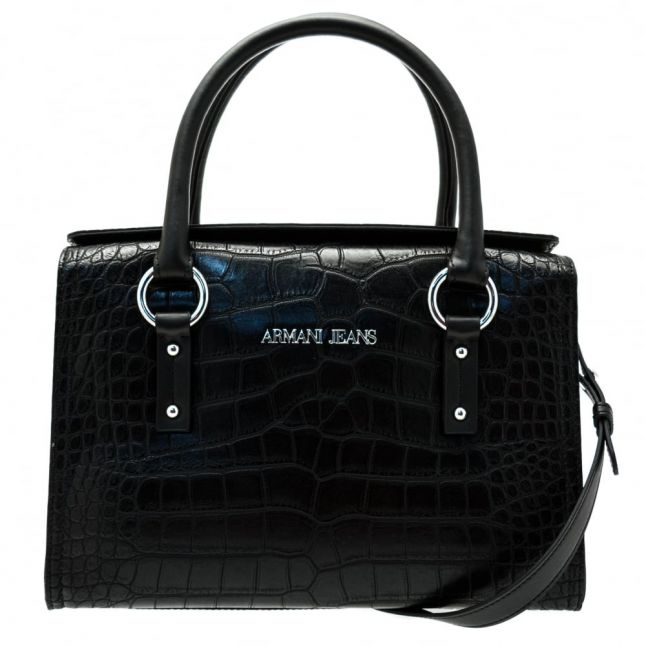 Womens Black Croc Effect Tote Bag