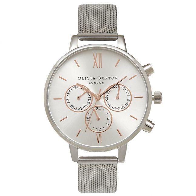 Womens Silver Chrono Detail Mesh Strap Watch