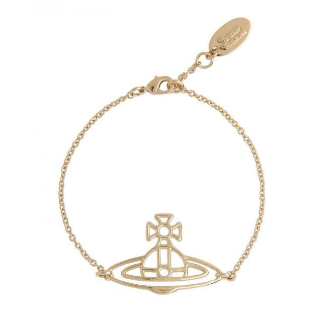 Womens Gold Thin Lines Flat Orb Bracelet
