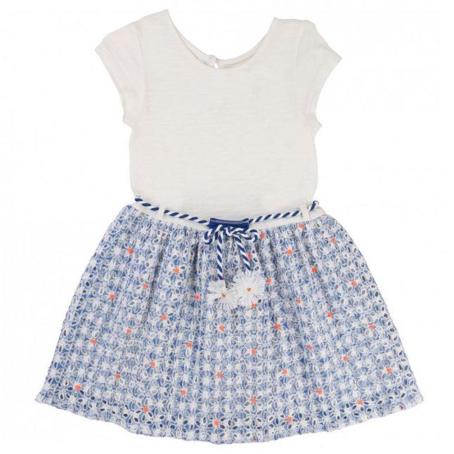 Girls Blue Crochet Flower Dress