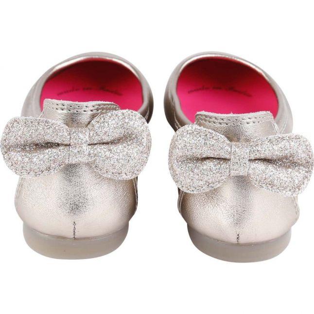 Girls Silver Bow Ballerina Shoes (23-33)