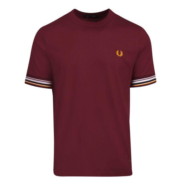 Mens Mahogany Stripe Cuffed S/s T Shirt