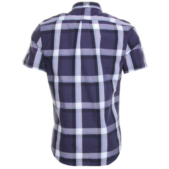 Mens True Navy Herne Check Slim Fit S/s Shirt