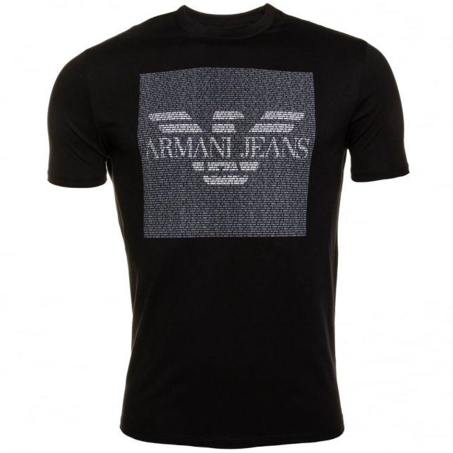 Mens Black Eagle Box Logo Regular Fit S/s Tee Shirt