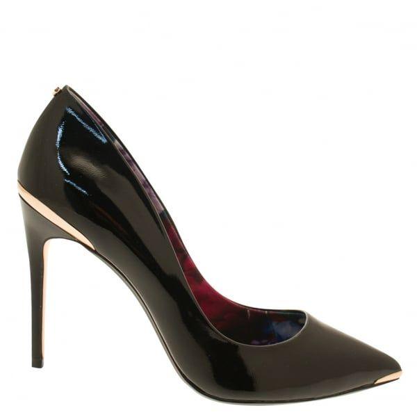 Womens Black Kaawa Patent Court Heels