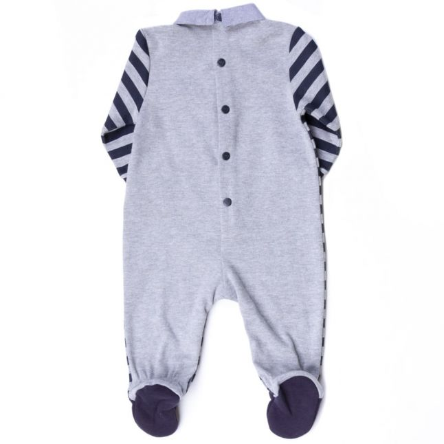 Baby Grey & Navy Striped Polo Shirt Romper Suit
