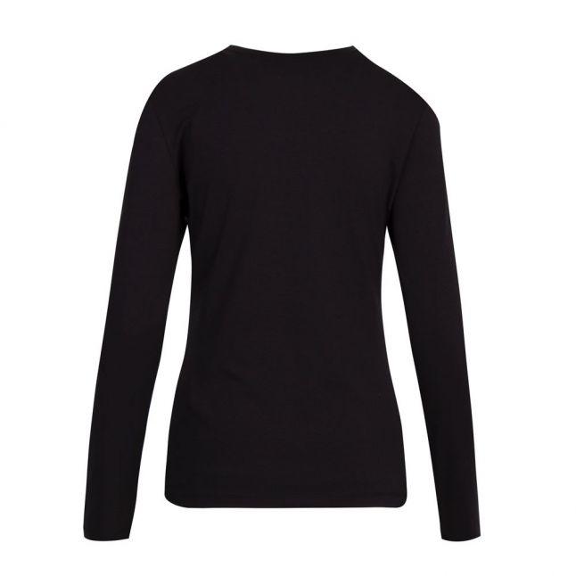 Womens Black Crystal Heart L/s T Shirt