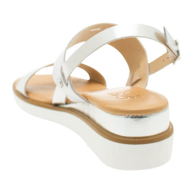 Womes Silver Leather Navas Sandals