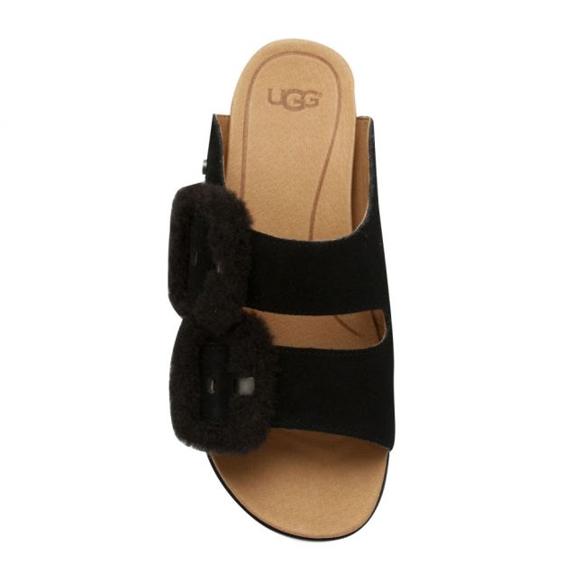 Womens Black Fluff Indio Slides
