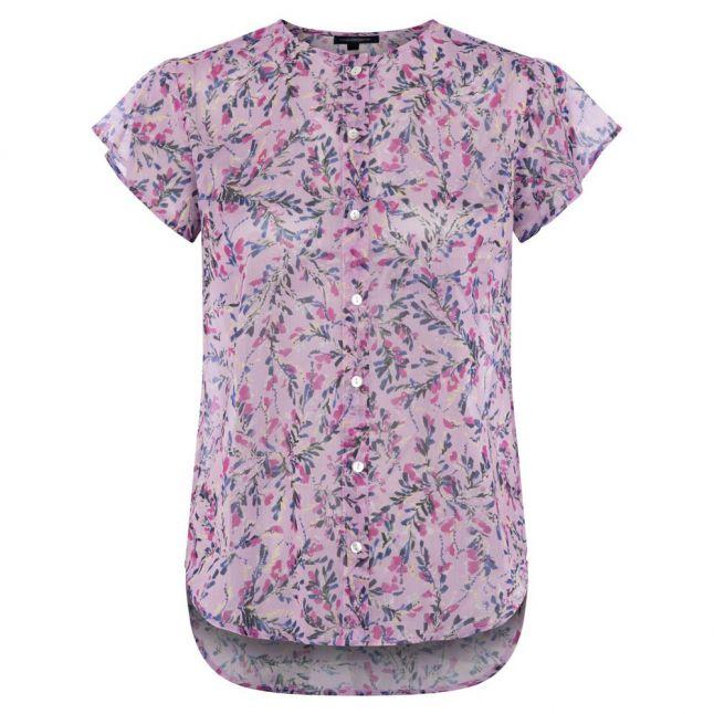 Womens Summer Lavender Flores Crinkle Button Blouse
