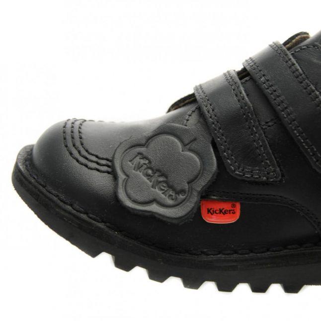 Junior Black Kick Lo Twin Strap Velcro Shoes (12.5-2.5)