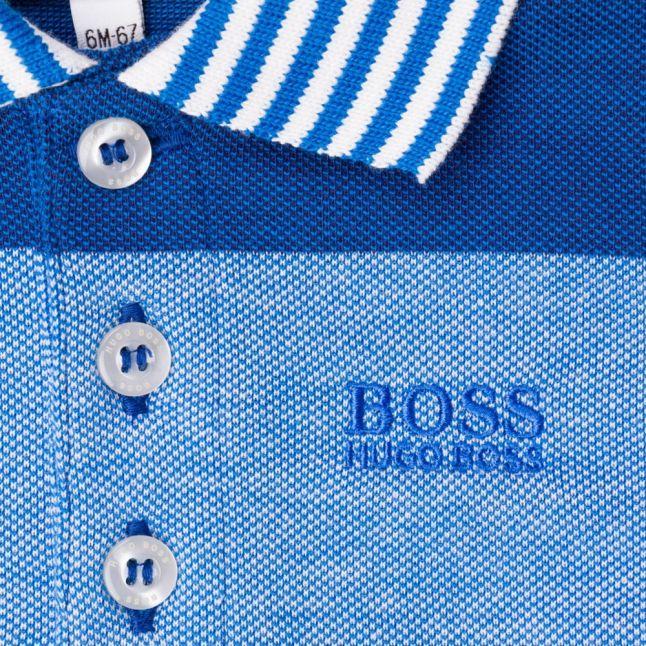 Baby Turquoise Block Stripe S/s Polo Shirt