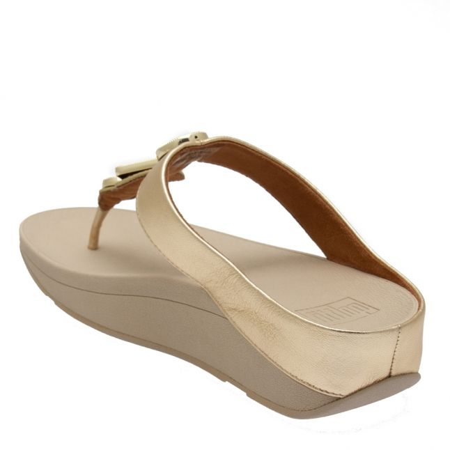 Womens Vintage Gold Leia Leather Toe Post Sandals